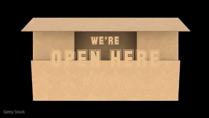 We're Open Video Template Facebook 封面视频 (16:9)