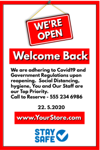 We're Open Welcome Back Cartaz template