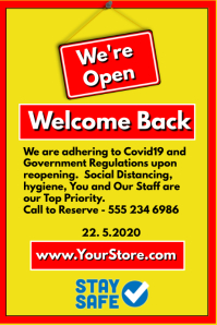 We're Open Welcome Back Póster template