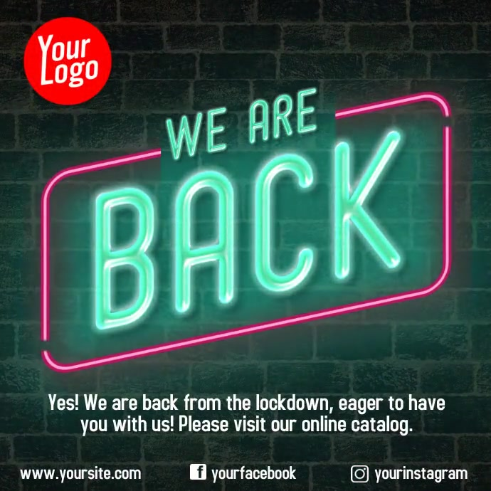 We are back instagram neon animation video Квадрат (1 : 1) template