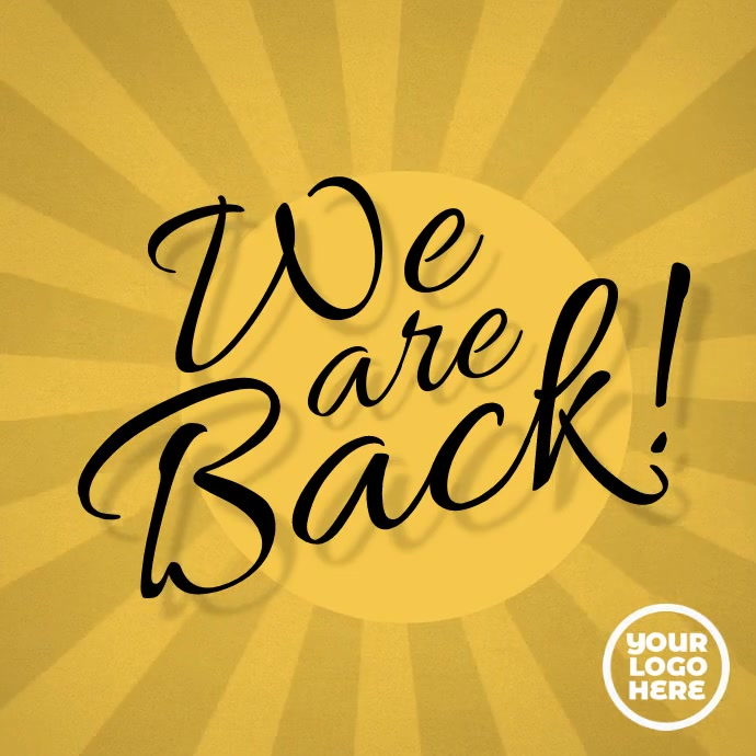 We are back instagram video post advertising Carré (1:1) template