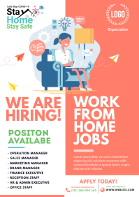 We Are Hiring, Work from Home Jobs, Job Flyer A4 template