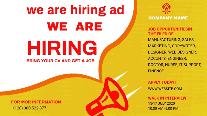 We Are Hiring Ad ภาพปก YouTube Channel template