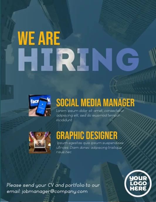 We are hiring cloudy sky video animation ใบปลิว (US Letter) template
