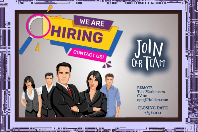 We are Hiring Póster template