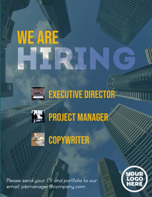 We are hiring executive corporate flyer video Volante (Carta US) template