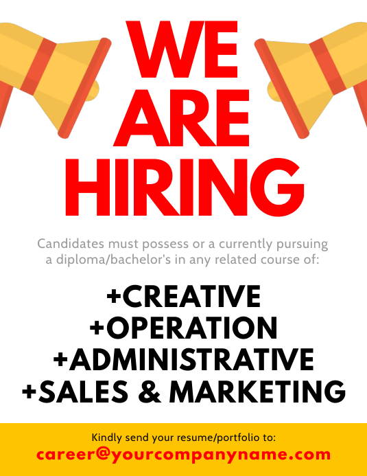 We Are Hiring Flyer Volante (Carta US) template