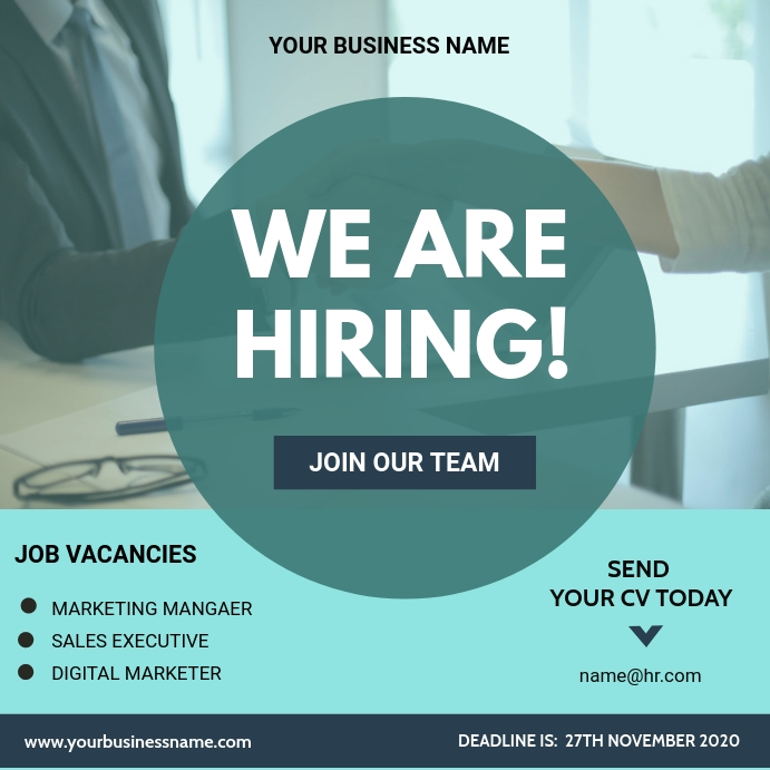 We are hiring flyer Wpis na Instagrama template
