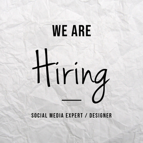 We Are Hiring Instagram Post