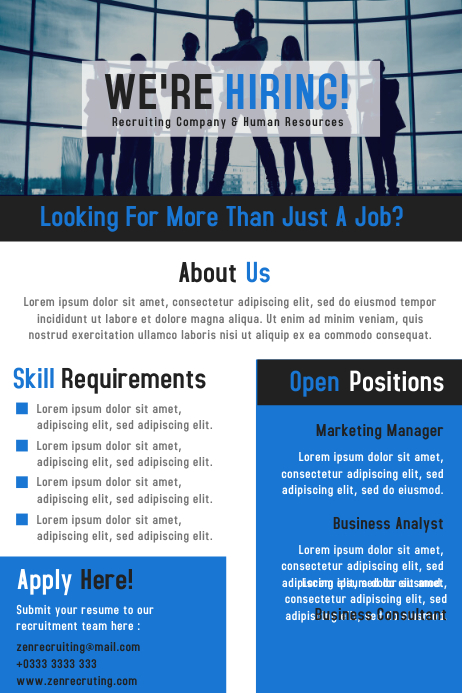 We are hiring / job vacancy business flyer and poster design