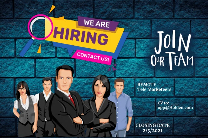 We are Hiring Jobs Póster template