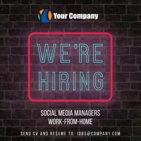 We are hiring neon wall video instagram post template