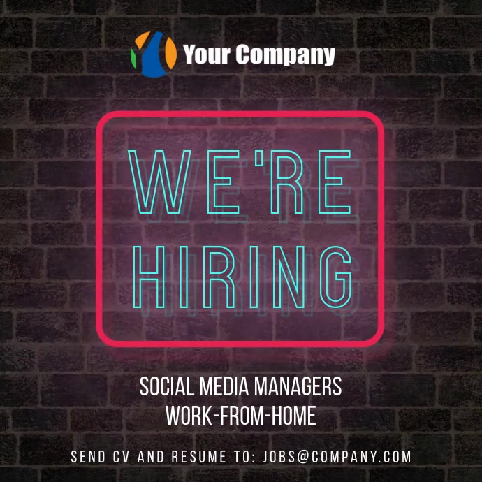 We are hiring neon wall video instagram post Instagram-opslag template