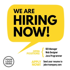 We are Hiring Now Instagram Facebook ad