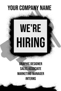 We Are Hiring Poster Template (Black and White)