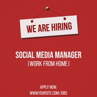 We are hiring red Instagram post template