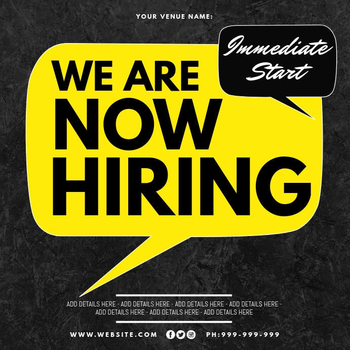 We Are Now Hiring Poster Kvadrat (1:1) template