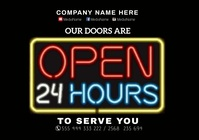 We are open 24 hour A3 template