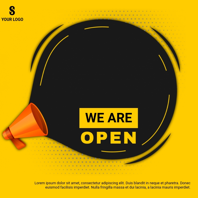 WE ARE OPEN AD Instagram-opslag template
