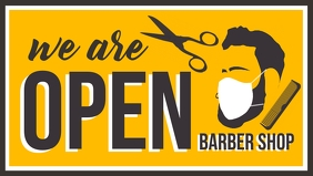 We are Open Barber Shop Template Vídeo de portada de Facebook (16:9)