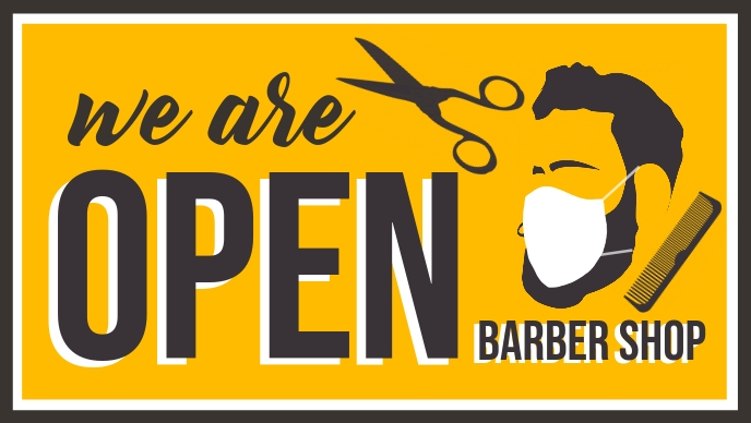 We are Open Barber Shop Template Facebook-covervideo (16:9)
