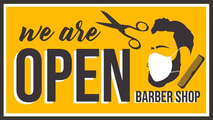 We are Open Barber Shop Template Video Sampul Facebook (16:9)