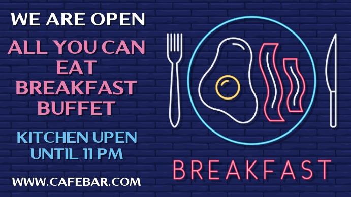 We Are Open Breakfast Neon Poster Template Digital Display (16:9)