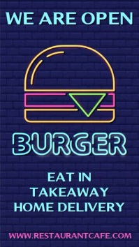 We Are Open Burger Flashing Neon Template Pantalla Digital (9:16)