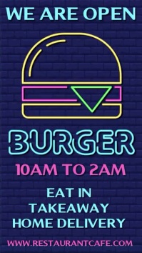 We Are Open Burger Flashing Neon Template Ecrã digital (9:16)