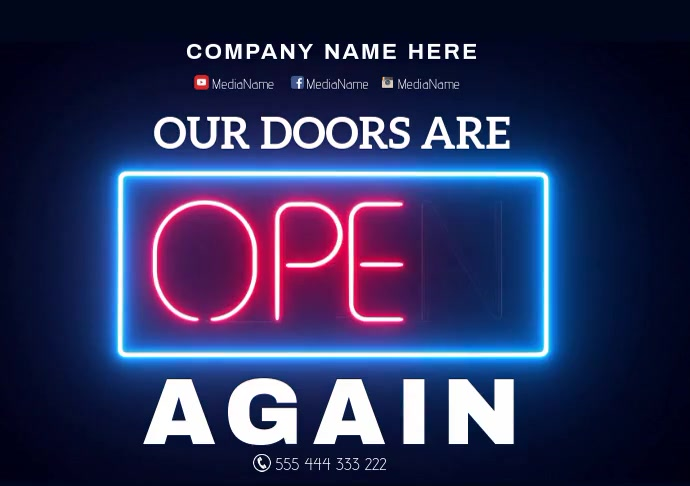 We are open Business A3 template
