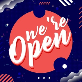 We Are Open Instagram Post template