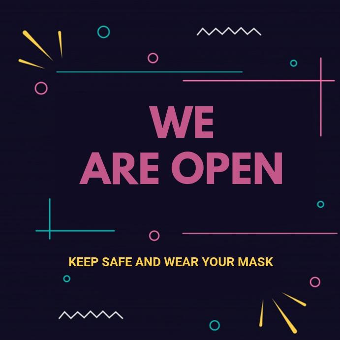 We are open flyer โพสต์บน Instagram template