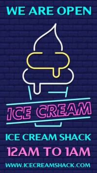 We Are Open Ice Cream Neon Sign Template Digital Display (9:16)