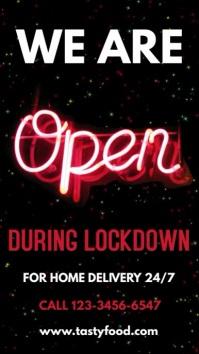 We Are Open Lockdown Video Template Affichage numérique (9:16)
