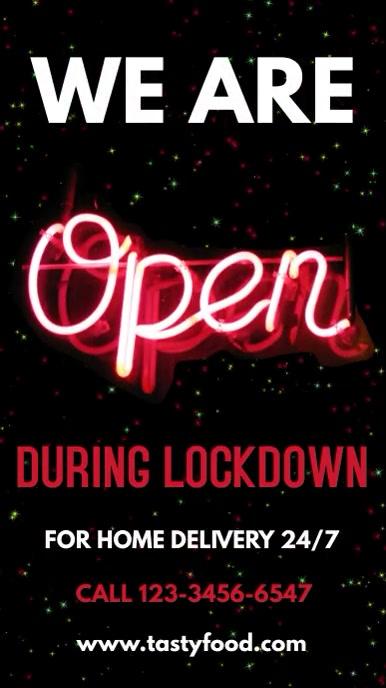We Are Open Lockdown Video Template 数字显示屏 (9:16)