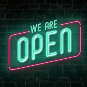 we are open neon sign animation video