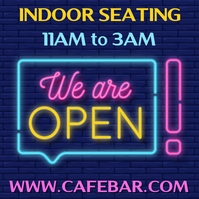 We Are Open Neon Template สี่เหลี่ยมจัตุรัส (1:1)