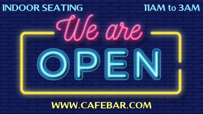 We Are Open Neon Template Pantalla Digital (16:9)
