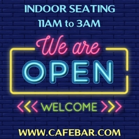We Are Open Neon Template Square (1:1)