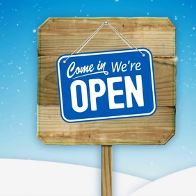 WE ARE OPEN SIGNBOARD Carré (1:1) template