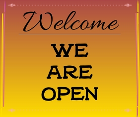 we are open template Mellemstort rektangel