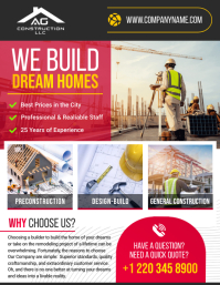 We build dream homes contractor flyer template