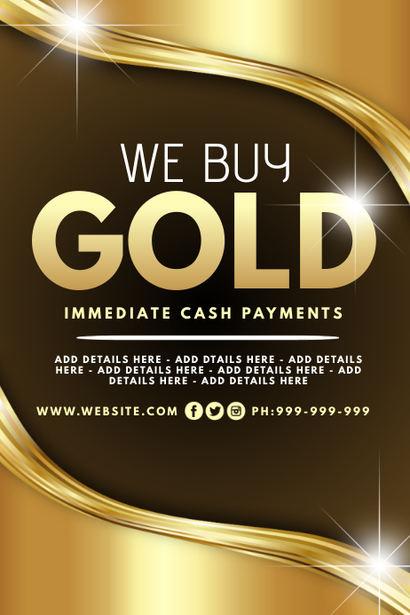 We Buy Gold Poster template
