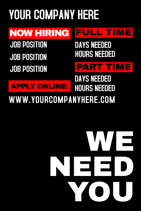 we need you template postermywall