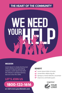 We Need Your Help Poster Flyer template