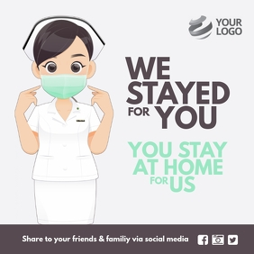 We stayed for you you stay at home for us Instagram Post template