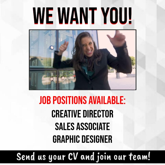 We Want You Hiring Poster Template