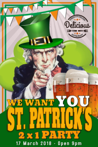 We Want You St Patricks Day Party Poster Template