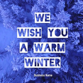 we wish you a warm winter greeting card