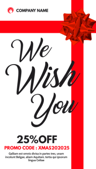 we wish you gift card red and white